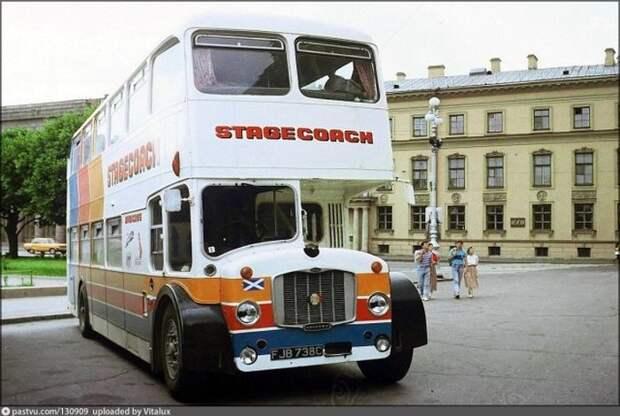 Туристический автобус Bristol Lodekka на Исаакиевской площади. Выпускать их прекратили ещё в 1968 году. история, факты, фото