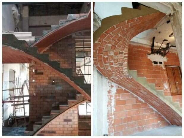 Витиеватая лестница из кирпича может украсить интерьер любого дома.   Фото: pinterest.com.