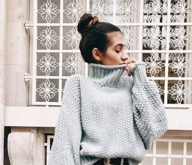 Серый свитер как must-have для каждой модницы