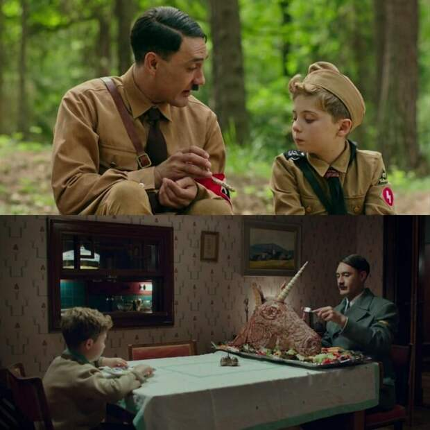 Источник: https://www.reddit.com/r/MovieDetails/comments/gm3dky/in_jojo_rabbit_2019_the_imaginary_hitler_offers/