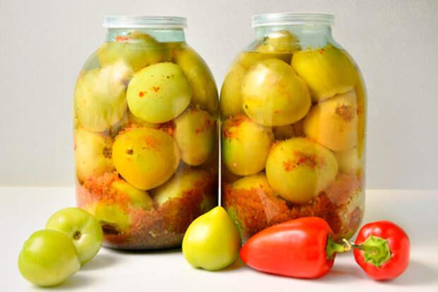 Без закатки и стерилизации: зеленые помидоры на зиму