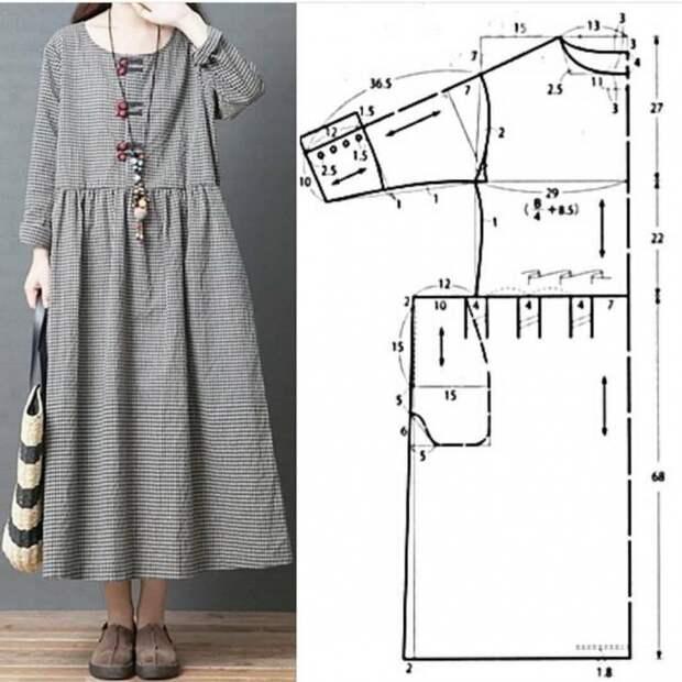 Простая выкройка летнего льняного бохо платья
