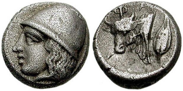 Диабол-Фанагория-403г.до н.э.-Голова кабира в конической шапке+Бык и зерно