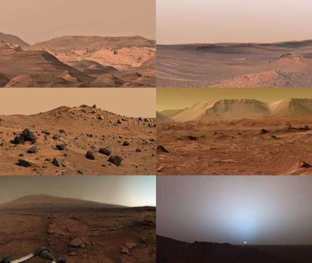 Вид с Марса. Холодная ржавая пыльная планета с задорными спутниками, тотальными пылевыми бурями, CO₂–гейзерами и вихрями