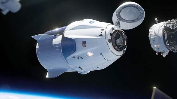 Иллюстрация стыковки корабляCrew Dragon с МКС