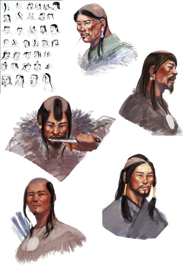 Монгольская мужская прическа XIII века