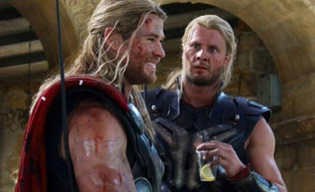 19 фотографий «Мстителей» с их дублерами, после которых актеры выглядят не так уж икруто