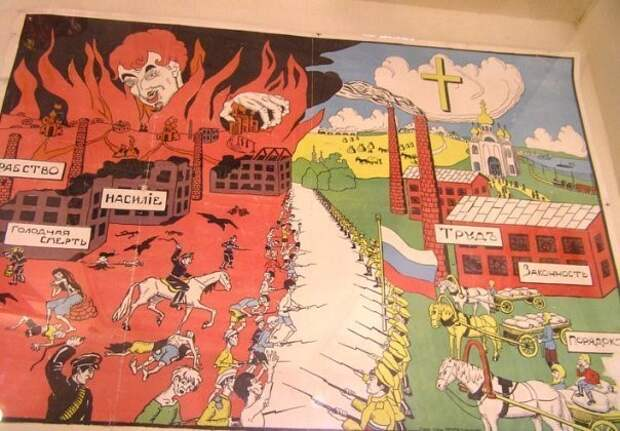 Противостояние красных и белых на плакатах