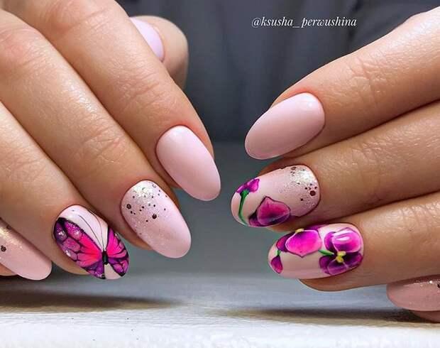 бабочки на ногтях фото 4
