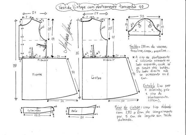 Выкройка винтажного платья в горох