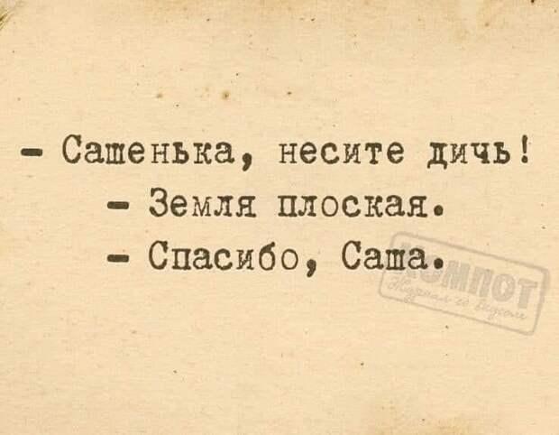 На изображении может находиться: текст «-сатенька, -Came нь несите дичь! -земля плоская. -спасибо, Cama. MΠOT egeau»