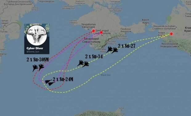 Российские Су-34 отогнали румынские F-16 от кораблей ВМС РФ в Черном море