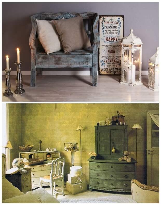 Придать новизны и оригинальности можно и при помощи техники «состаривания» мебели.