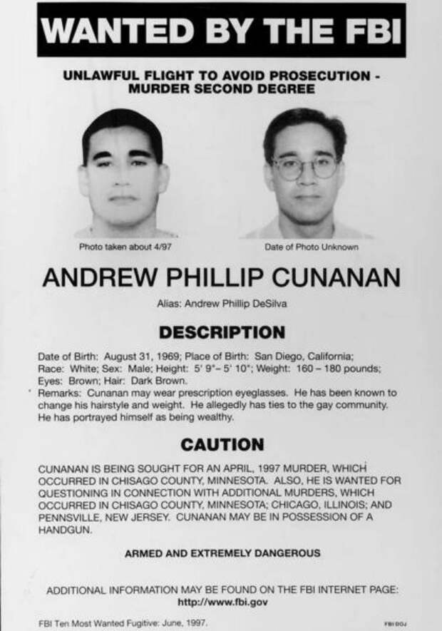 плакат о розыске Кунанана