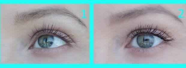 На фото 1 ресницы накрашены только тушью цвета бургунди, на фото 2 - готовый вариант. Нижние ресницы не красила