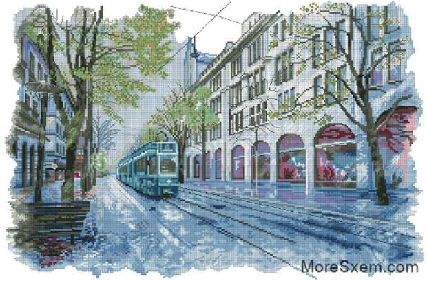Тролейбус в городе