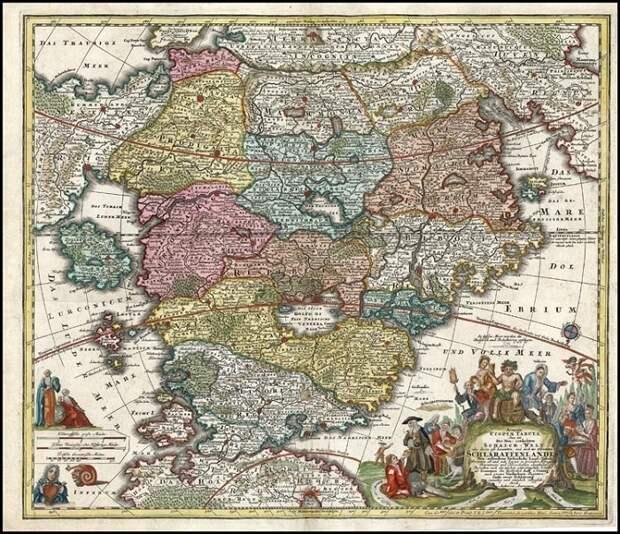 Вымышленная карта Шлараффенланда. (Немецкая трактовка страны «Кокань»). Иоганн Баптист Гоманн. (1730).