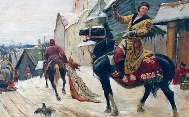 Опричники в Новгороде.