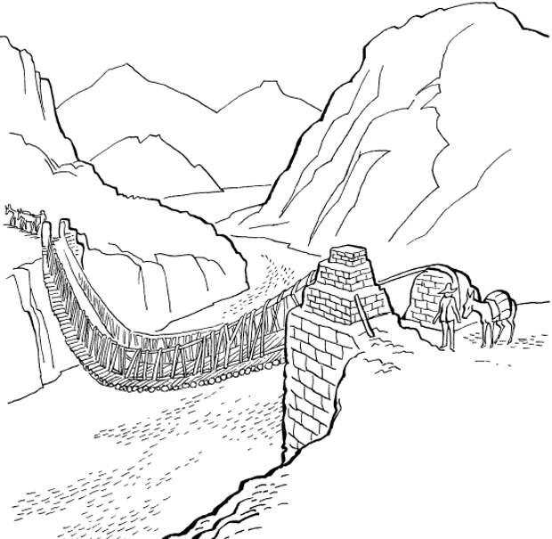 Мост, висящий над рекой Пампас. Перерисовано у Эфраима Джорджа Скуайера, Перу, 1877. Изображение взято с официального форума ЛАИ: https://laiforum.ru/viewtopic.php?f=64&t=4078
