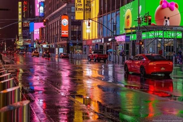 Атмосферная прогулка по ночной Таймс-сквер