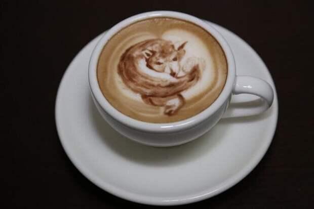 И даже воплотили её в виде узора на кофе бицуха, лиса, мышцы, прикол, фотошоп, юмор