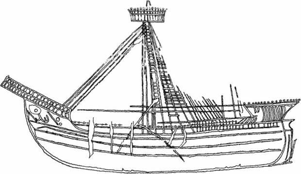 Изображение латинского парусного корабля XV века из башни №5. /Фото:krimoved-library.ru