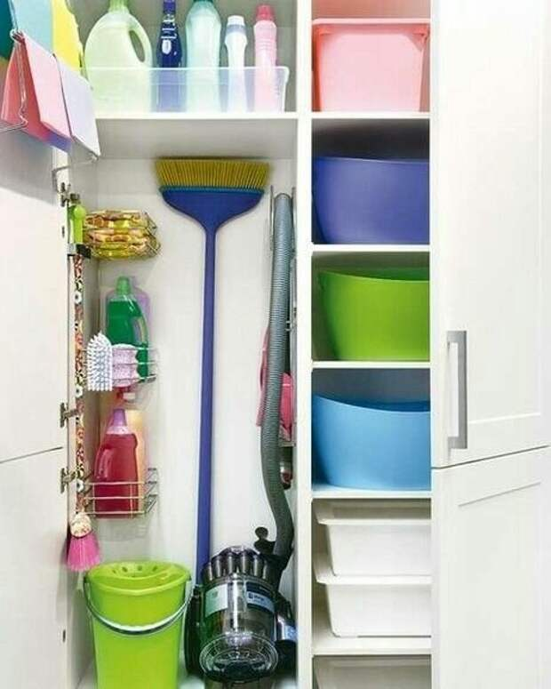 Идеи для хранения тазиков и всего, что связанно с уборкой и стиркой