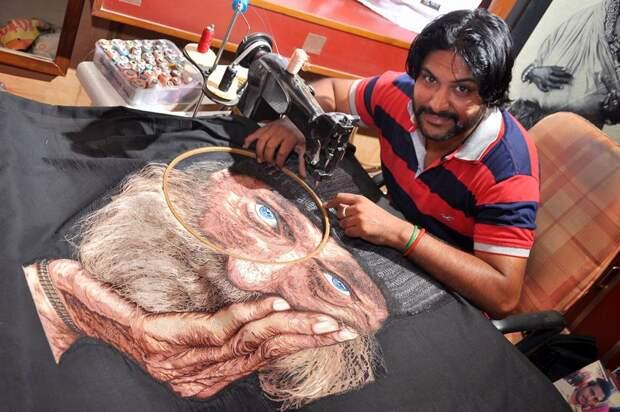 Феноменальный Человек-иголка: индиец вышивает картины намашинке, иони потрясающие
