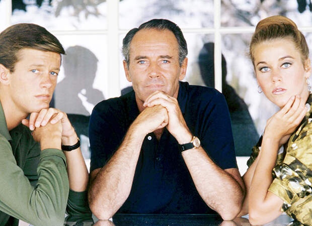 Джейн ФОнда с братом и отцом