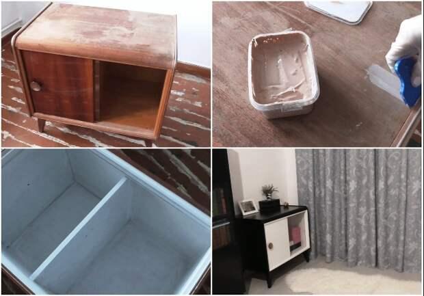 Пример реставрации деревянной прикроватной тумбочки. | Фото: youtube.com/ tanya leto.
