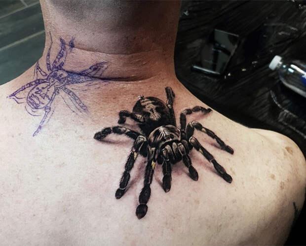 Тату в виде пауков и пчёл с 3D-эффектом