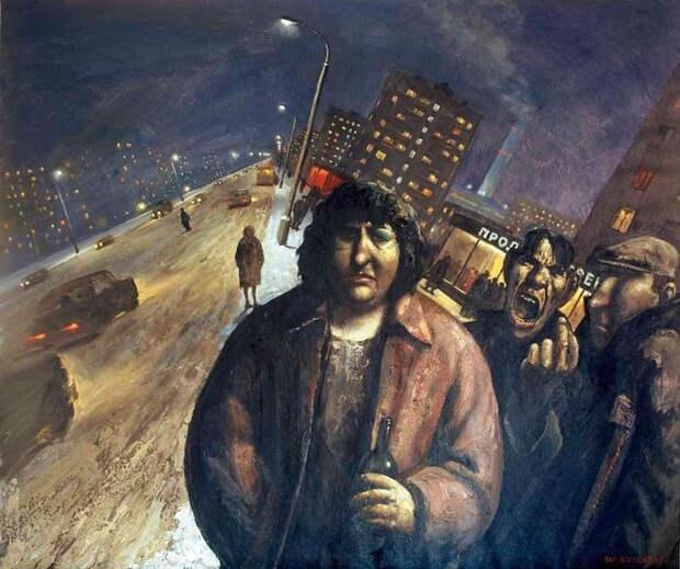 Ночь в городе. Автор: Василий Шульженко.