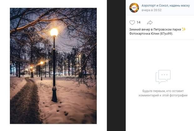 Фото дня: морозный вечер в Петровском парке