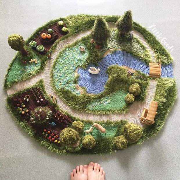 3D коврик с лебедем