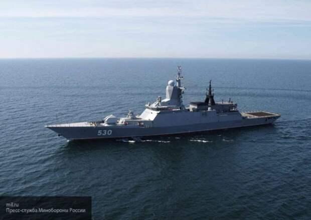 Корвет ВМФ РФ провел стрельбы на фоне захода эсминца США в Балтийское море