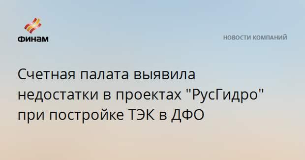 """Счетная палата выявила недостатки в проектах """"РусГидро"""" при постройке ТЭК в ДФО"""