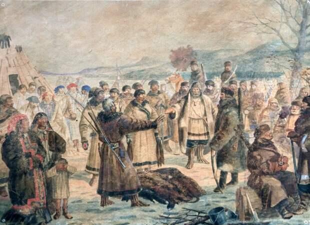Cибирские казаки собирают оброк у самоедов. Картина начало ХХ века. Источник:http://остяко-вогульск.рф