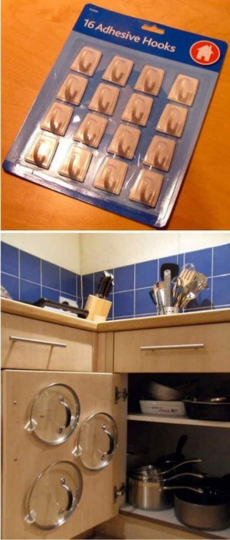 Правда есть одна рекомендация - крючки лучше закрепить на клей, иначе отвалятся. Но все-таки это дешевле, чем прикручивать какие-то специальные приспособления по диким ценам Фабрика идей, гениально, держатели, крючки, кухня, приспособления организация пространства