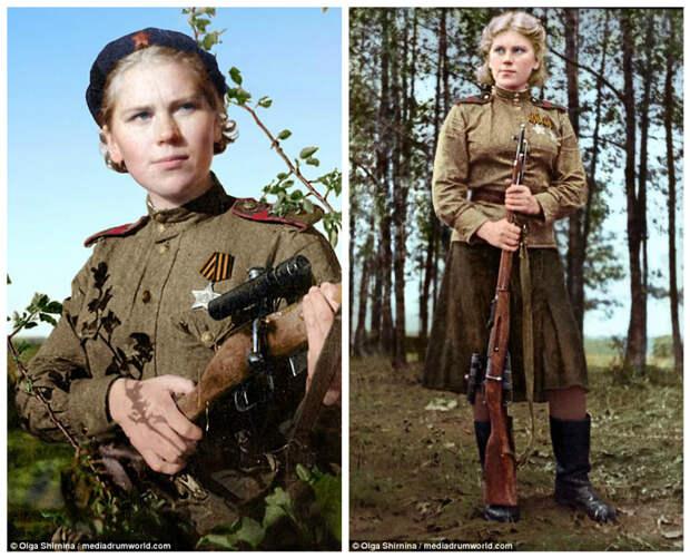 Она была известна способностью вести точную стрельбу по движущимся целям дуплетом - двумя идущими друг за другом выстрелами женщины СССР, колоризация, колоризированные снимки, раскрашенные, снайперы