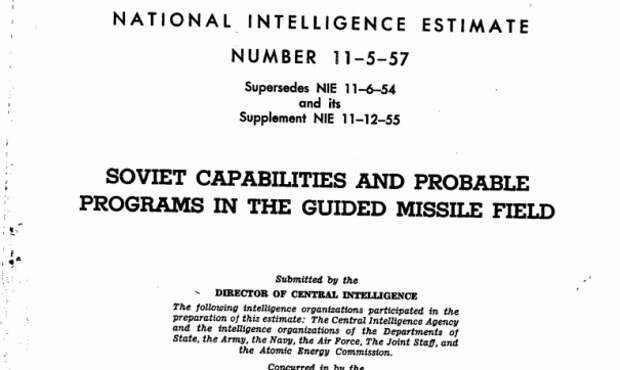 ЦРУ публикует данные разведки о «Спутнике» и ракетной программе СССР