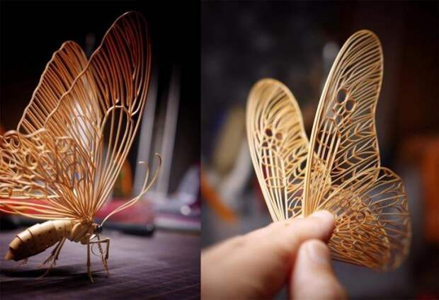 Удивительные насекомые из бамбука от японского мастера (12 фото)