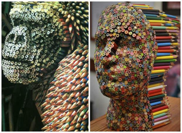 Из цветных карандашей интересное, искусство, креатив, творчество