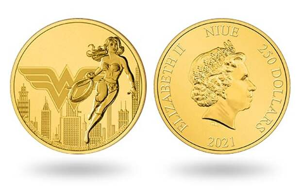 Вышли золотые монеты Ниуэ, посвященные Чудо-женщине