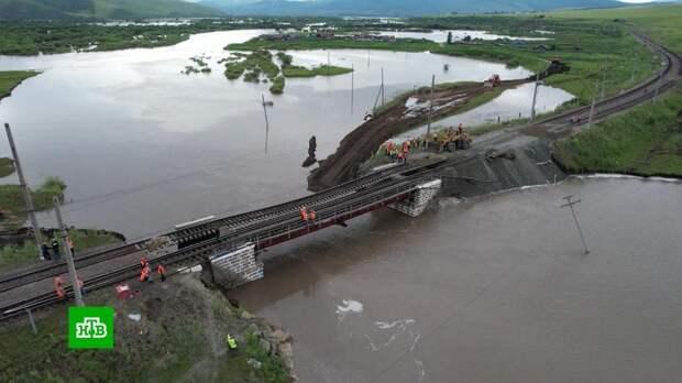 В Забайкалье начали восстанавливать обрушенный мост на Транссибе