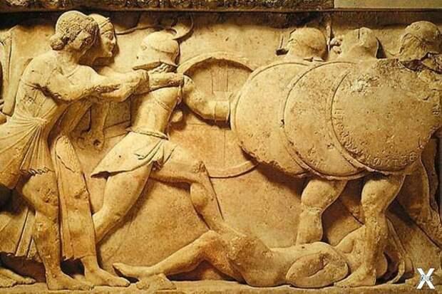 Гоплиты. Рельеф на фризе храма в Дель...