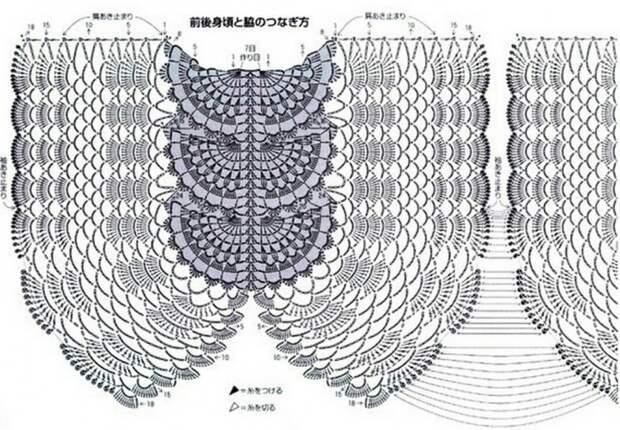 Вязание крючком - кофта крылья
