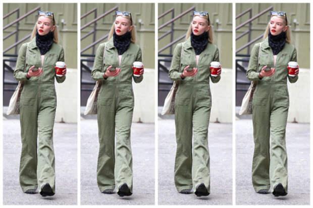 Если выходить за кофе, то в комбинезоне, как у Ани...
