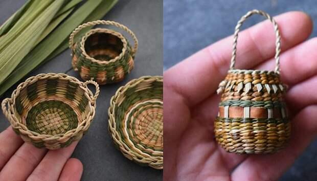 Ювелир плетёт крошечные корзинки из сухих растений