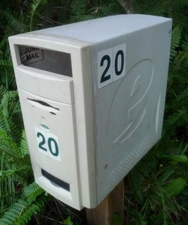 11. Одна из распространенных и простых идей - почтовый ящик компьютер, новая жизнь старых вещей, процессор, своими руками, системный блок