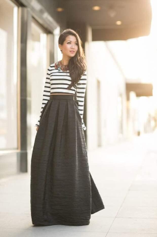 Как и с чем носить длинную юбку -- 10 женственных образов